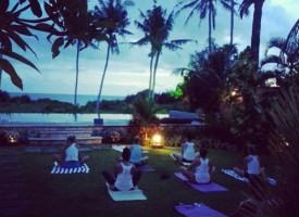 group yoga sunset
